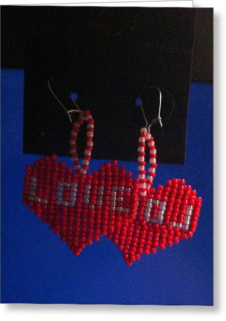 Seed Beads Greeting Cards - Love Handwoven Earrings Greeting Card by Kimberly Johnson