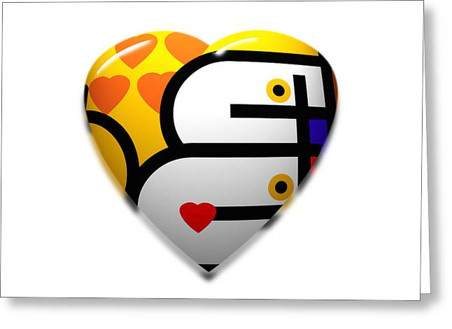 De Stijl Greeting Cards - Love Heart Pop Greeting Card by Charles Stuart