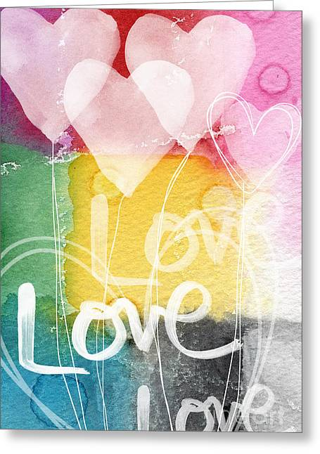Kids Mixed Media Greeting Cards - Love Hearts Greeting Card by Linda Woods