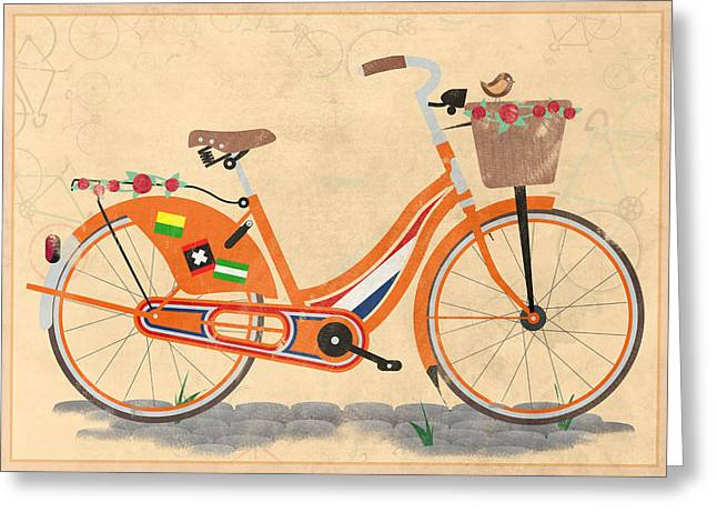 Messenger Greeting Cards - Love Holland Love Bike Greeting Card by Andy Scullion