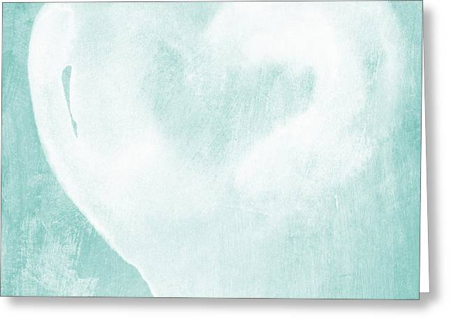 Shower Greeting Cards - Love in Aqua Greeting Card by Linda Woods