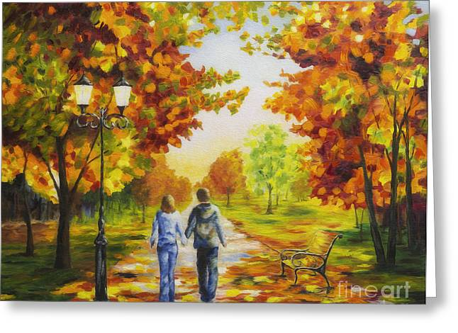 Harmonious Paintings Greeting Cards - Love in autumn Greeting Card by Veikko Suikkanen