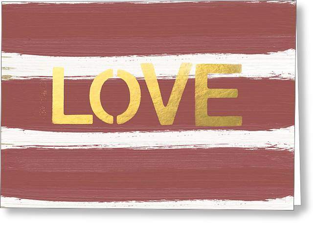 Striped Mixed Media Greeting Cards - Love in Gold and Marsala Greeting Card by Linda Woods