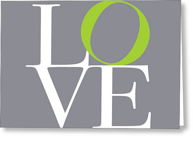 Chic Digital Greeting Cards - Love in Grey with a Lime Twist Greeting Card by Michael Tompsett