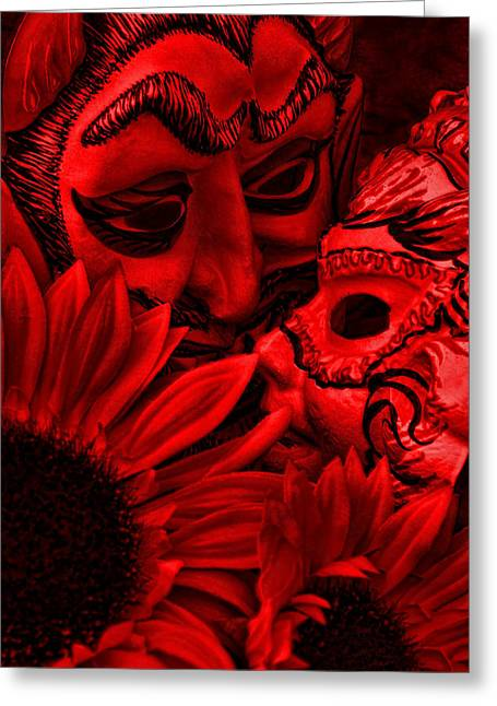 Monotone Color Greeting Cards - Love In Hell Greeting Card by Jeff  Gettis