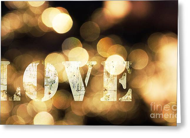 Bridal Shower Greeting Cards - Love in Lights Greeting Card by ArtyZen Home