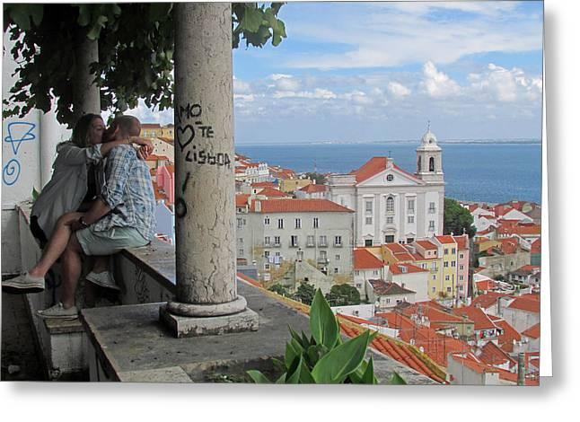 Church Pillars Paintings Greeting Cards - Love in Lisbon  Greeting Card by Robert Gerdes