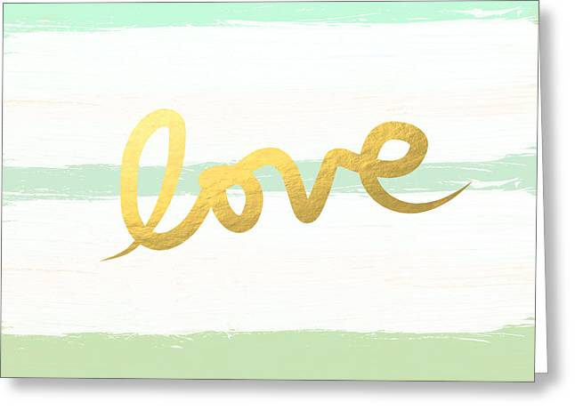 Striped Mixed Media Greeting Cards - Love in Mint and Gold Greeting Card by Linda Woods