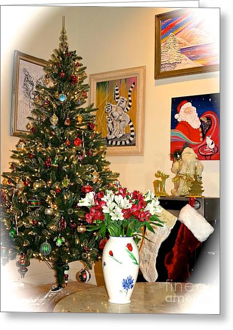 Marble Top Table Greeting Cards - Love in Our Hearts and Santa in the Corner Greeting Card by Phyllis Kaltenbach