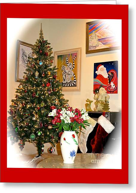 Love In Our Hearts And Santa In The Corner Greeting Card by Phyllis Kaltenbach