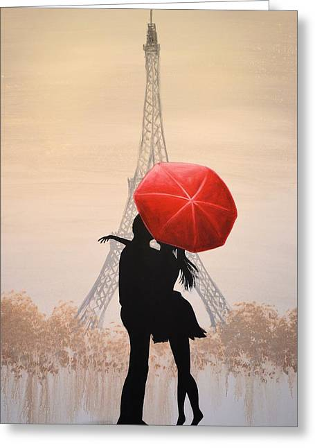 Love Print Greeting Cards - Love In Paris Greeting Card by Amy Giacomelli