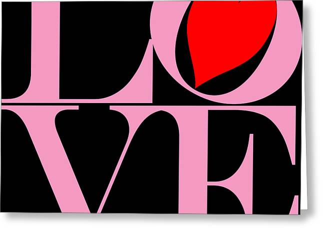 Valentimes Greeting Cards - Love in Pink and Black Greeting Card by Mariola Bitner