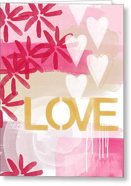 Marriage Mixed Media Greeting Cards - Love in Pink and Gold Greeting Card by Linda Woods