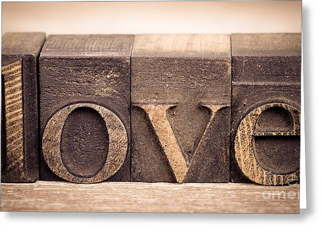 Words Background Greeting Cards - Love in printing blocks Greeting Card by Jane Rix