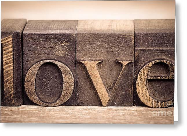 Block Printing Greeting Cards - Love in printing blocks Greeting Card by Jane Rix