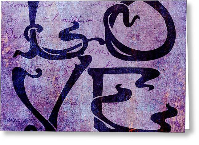 Husband Digital Art Greeting Cards - Love in Purple Greeting Card by Nomad Art And  Design