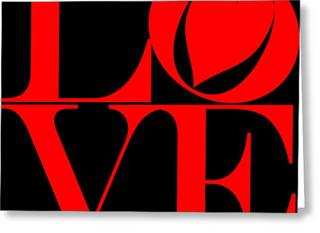 Valentime Greeting Cards - Love in Red and Black Greeting Card by Mariola Bitner