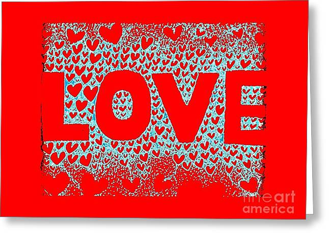 With Love Mixed Media Greeting Cards - LOVE in Red Greeting Card by Helena Tiainen