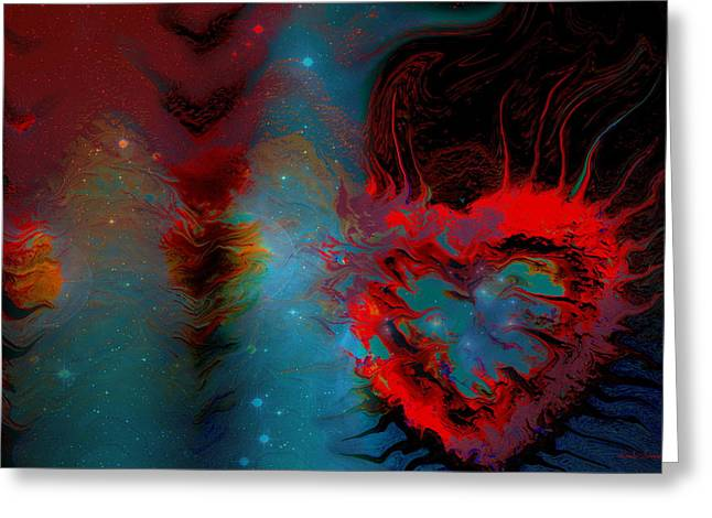 Fineartamerica Greeting Cards - Love In Space Greeting Card by Linda Sannuti