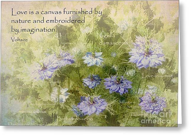 Damascena Greeting Cards - Love is a Canvas Greeting Card by Julia Springer