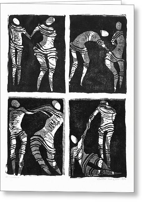 Linocut Greeting Cards - Love is a dance Greeting Card by Gun Legler