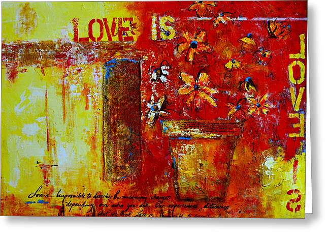 Flowers On Line Greeting Cards - Love Is Abstract Greeting Card by Patricia Awapara
