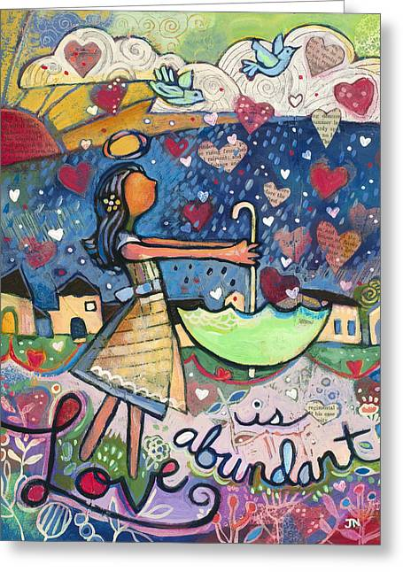 Dazzling Blue Greeting Cards - Love Is Abundant Greeting Card by Jen Norton