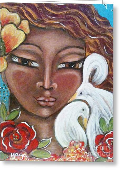 The Sacred Feminine Greeting Cards - Love Is All There Is Greeting Card by Maya Telford