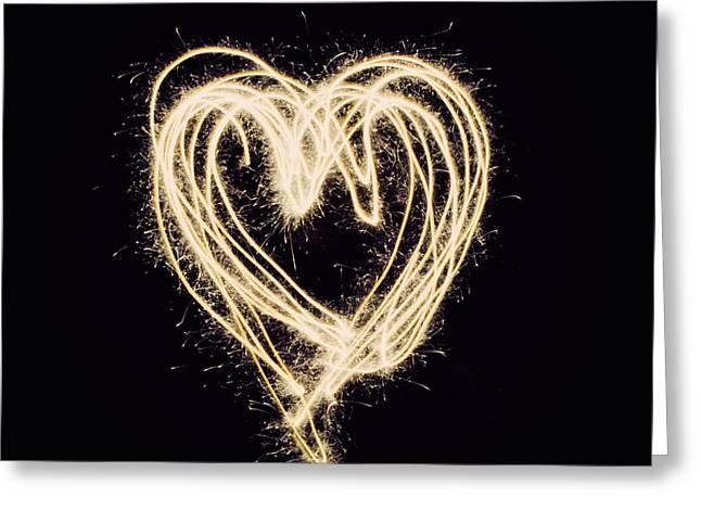 Sparklers Greeting Cards - Love Is All You Need Greeting Card by Emily Enz