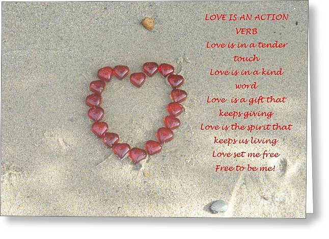 Verb Greeting Cards - Love Is An Action Verb Greeting Card by Lisa Gifford