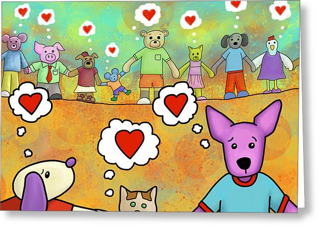 Dog Pics Greeting Cards - Love is Community Greeting Card by Yvonne Lozano