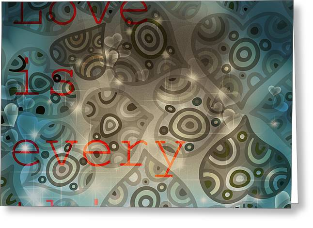 Reflection Harvest Mixed Media Greeting Cards - Love is Everything Background Greeting Card by Art World