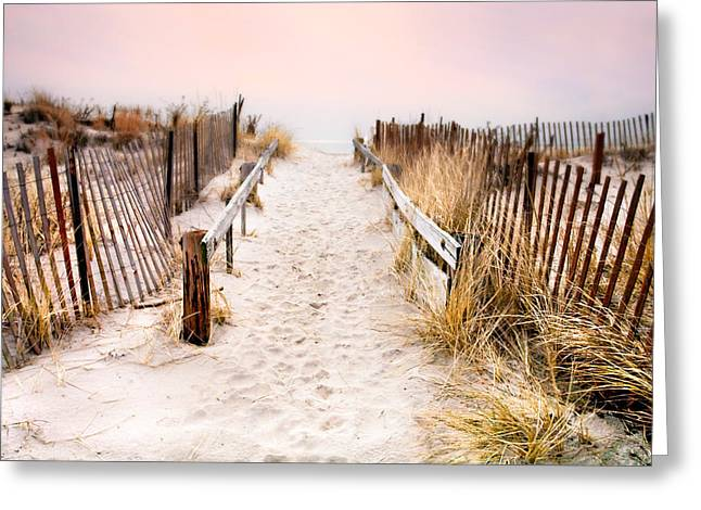 Sunset Posters Greeting Cards - Love is Everything - Footprints in the sand Greeting Card by Gary Heller