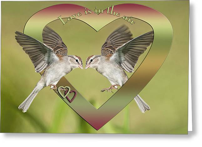 Chipping Sparrow Greeting Cards - Love is in the Air Greeting Card by Bonnie Barry