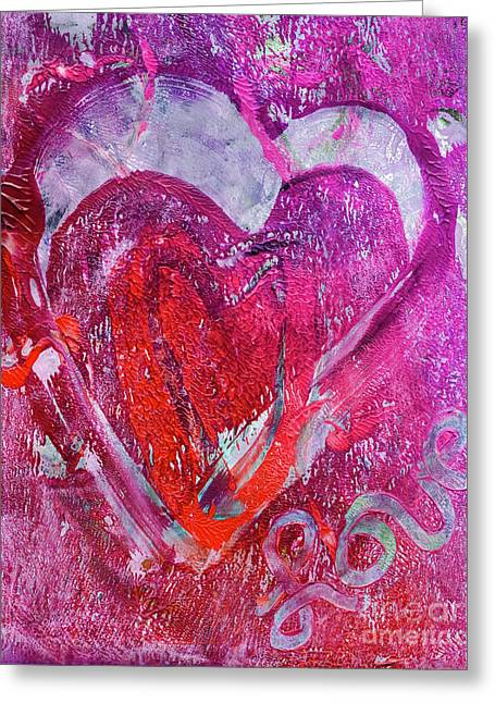 Cheer On Mixed Media Greeting Cards - Love is in the Air Greeting Card by Laura L Leatherwood