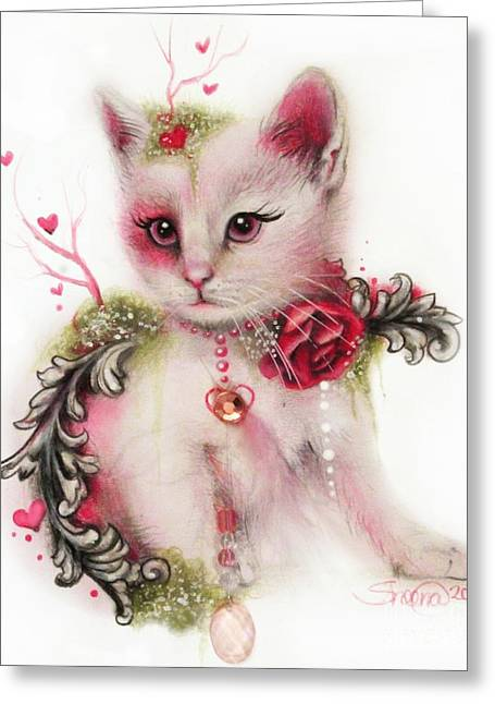 Coloured Mixed Media Greeting Cards - Love is in the Air Greeting Card by Sheena Pike