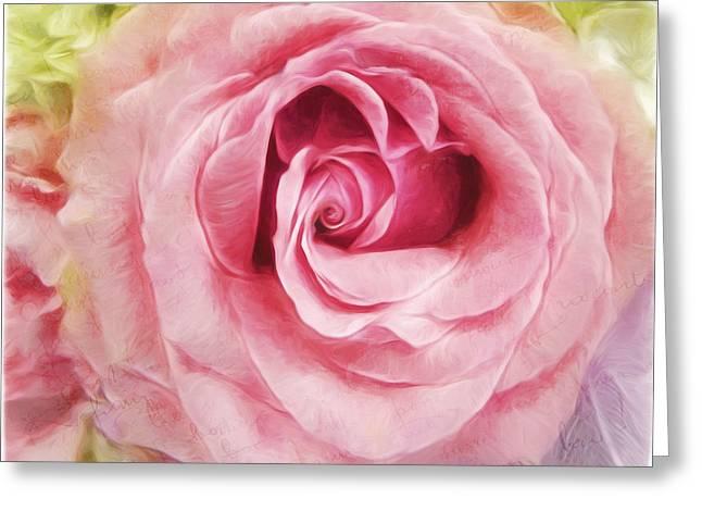Love Is Just A Word - Vintage Flower Art Greeting Card by Jordan Blackstone
