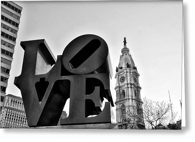 Cityhall Greeting Cards - Love is just Black and White Greeting Card by Bill Cannon