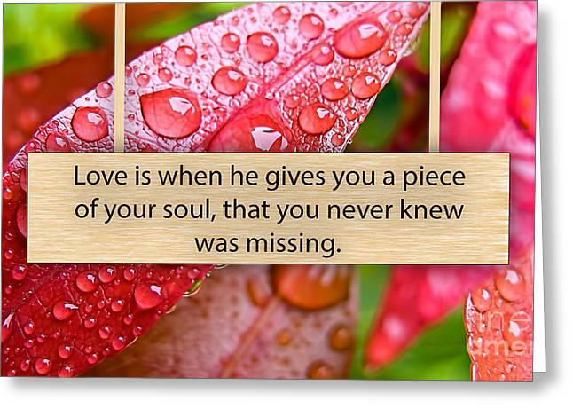 Inspiration Greeting Cards - Love is Greeting Card by Marvin Blaine