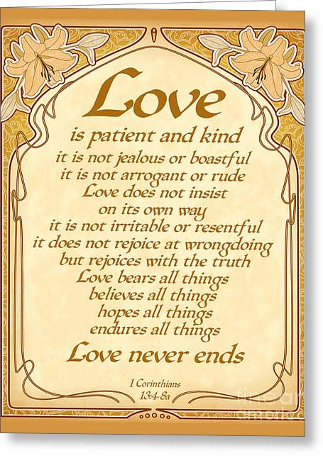 Ginny Gaura Greeting Cards - Love Is Patient - Gold Art Nouveau Style Greeting Card by Ginny Gaura