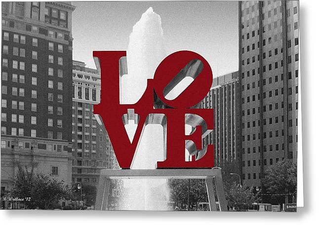 Altered Architecture Greeting Cards - Love Is Red Greeting Card by Brian Wallace