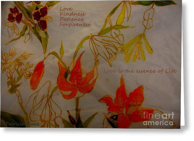 Biblical Tapestries - Textiles Greeting Cards - Love is the Essence Greeting Card by Patricia Bunk