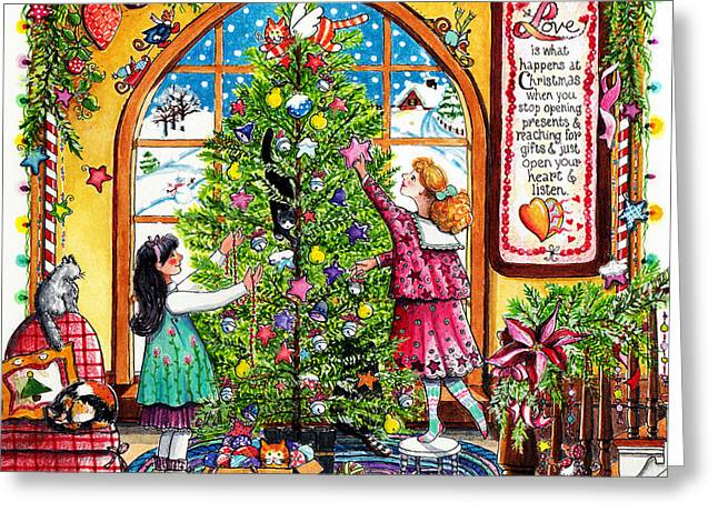 Real Meaning Of Christmas Greeting Cards - Love Is What Happens At Christmas Greeting Card by Deborah Burow