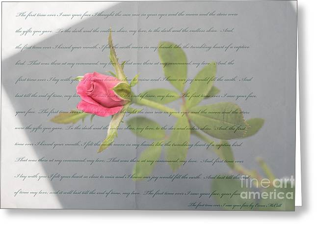 Saw Greeting Cards - Love Letter Lyrics and Rose Greeting Card by Ella Kaye Dickey
