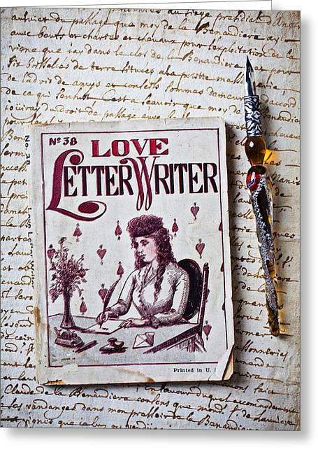 Love Letter Photographs Greeting Cards - Love letter writer book Greeting Card by Garry Gay