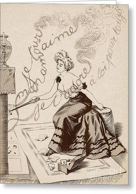 Love Letter Drawings Greeting Cards - Love letters French Cartoon Circa 1900 No. 7 Greeting Card by The Keasbury-Gordon Photograph Archive