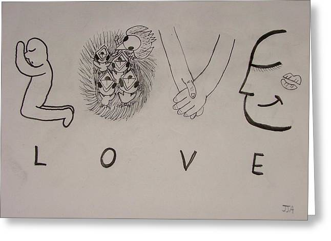 Love Letter Drawings Greeting Cards - Love Letters Greeting Card by John Auwarter