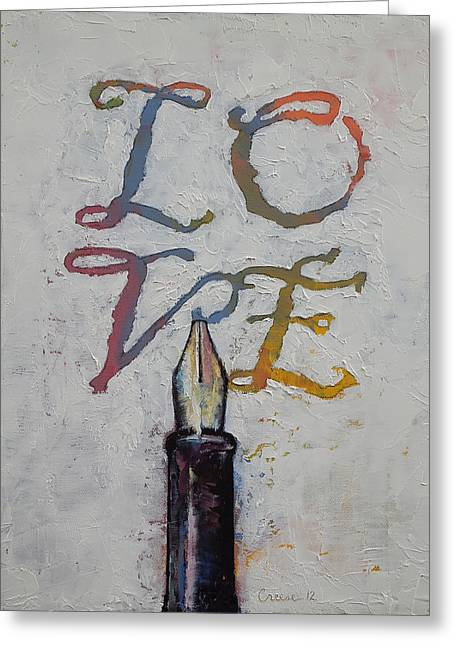 Love Letter Paintings Greeting Cards - Love Greeting Card by Michael Creese