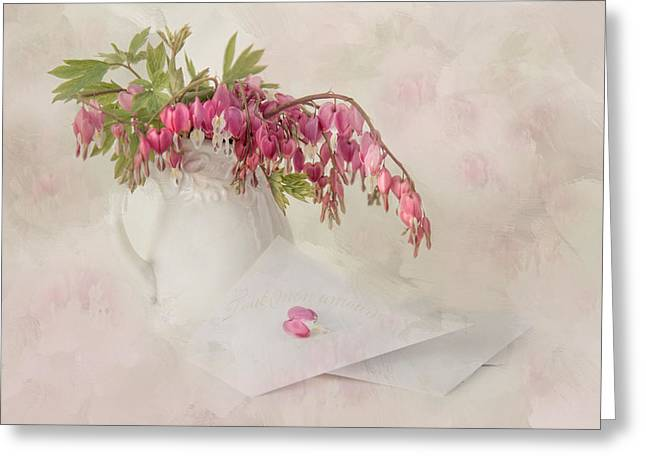 Bleeding Hearts Greeting Cards - Love Letters Greeting Card by Robin-lee Vieira