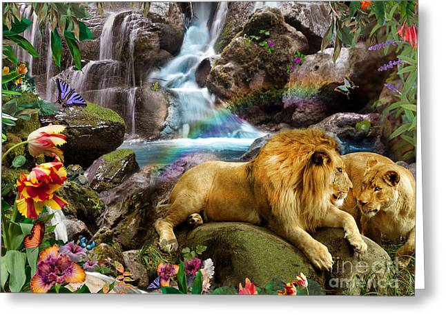 Lions Greeting Cards - Love Lion Waterfall Greeting Card by Alixandra Mullins